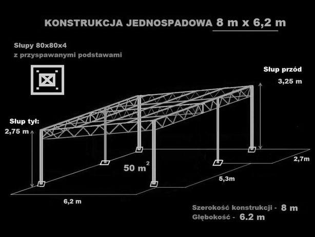 Konstrukcja skręcana wiata rolna garaż 8 x 6,2m Hala Magazyn Blacha