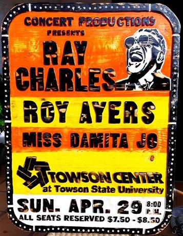 Quadro em madeira Ray Charles poster do concerto 79 vintage jazz blues