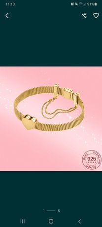 Bransoletka typu Pandora Reflexions 15.5 cm gold złoto 925 charmsy