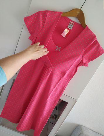 Nowa koszula ciążowa i do karmienia M różowa grochy bawełniana Muzzy 3