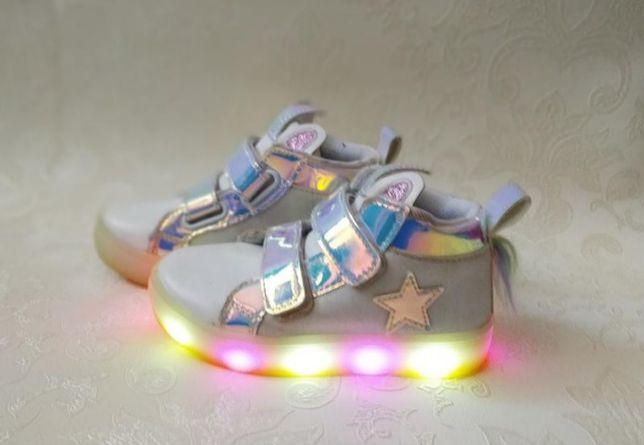 Хайтопы светящиеся ботинки кроссовки
