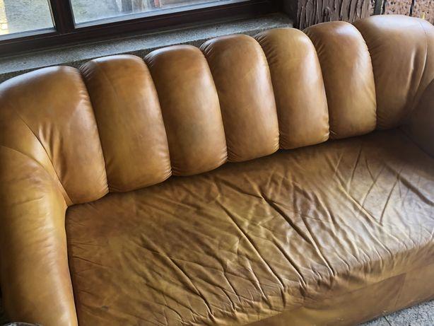 Sofa skórzana naturalna trójka rozkladana