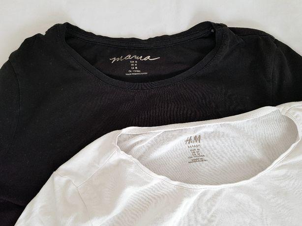 Komplet dwóch bluzek ciążowych czarna + biała marki H&M rozmiar M