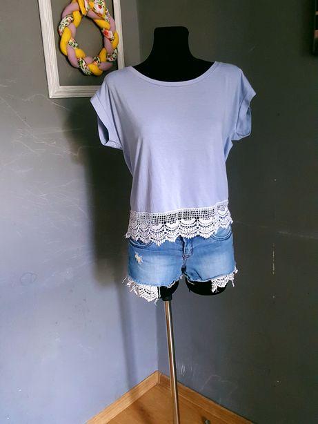 Jeansowe szorty/spodenki r.S z koronką