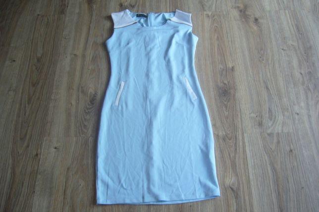 Niebieska sukienka białe wstawki R-XL