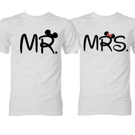 2 T-Shirts Brancas Mr & Mrs - Oferta de Portes