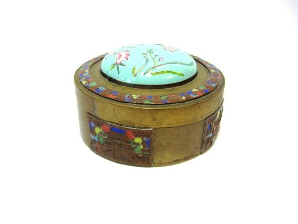 Коробка Шкатулка Эмаль Латунь Япония