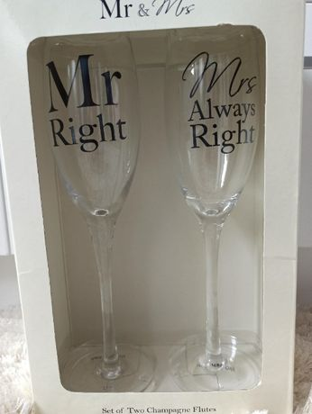Kieliszki do szampana Mr Right & Mrs Always Right NOWE