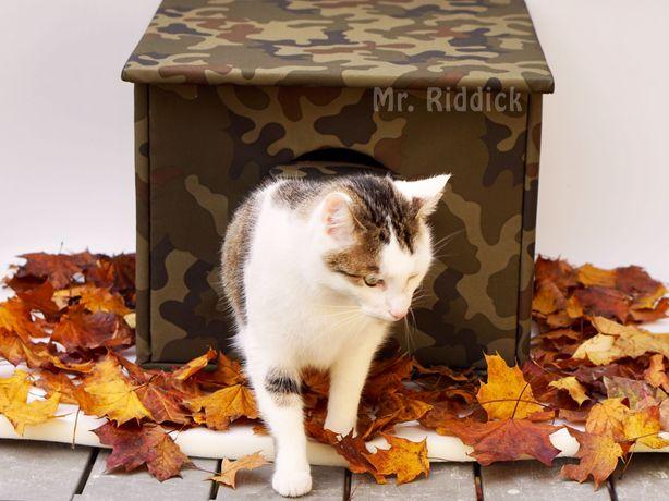 Domek buda budka dla kota i psa na dwór, kolor moro, ocieplana