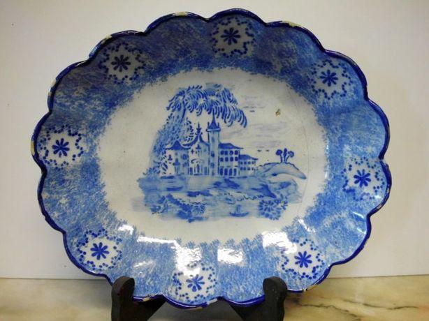 fantastico antigo prato oval em faiança portuguesa azul
