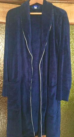 Плюшевий чоловічий халат ,синього кольору