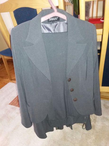 komplet kostium zakiet szary spodnica spodnie eleganckie