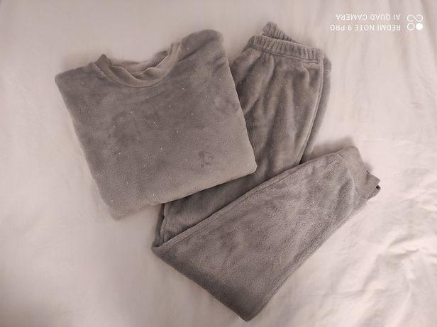 Ciepła szara piżama damska zimowa pluszowa milutka S