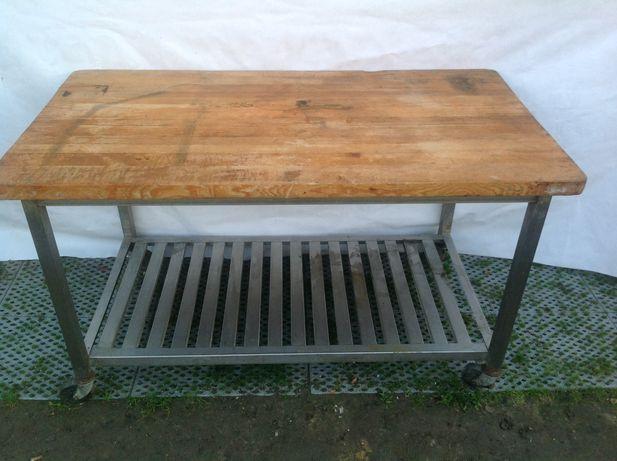 Stół nierdzewny z blatem drzewnianym