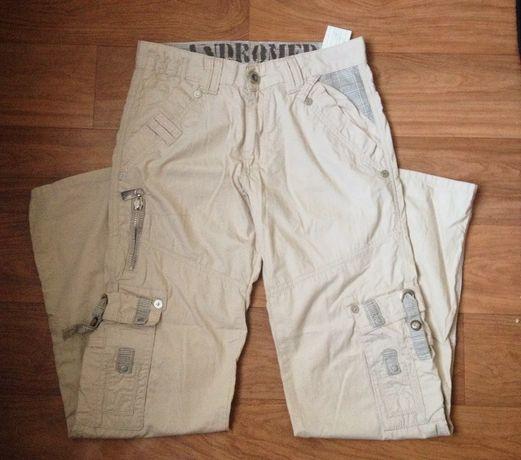 Штаны, брюки бежевые с карманами