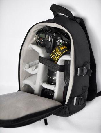 Фоторюкзак небольшой черный рюкзак для фототехники с чехлом