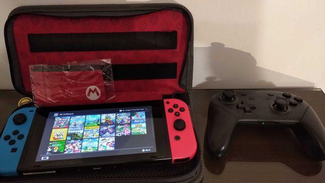 Consola Nintendo Switch Desbloqueada+Pro Controller+Estojo+16 Jogos
