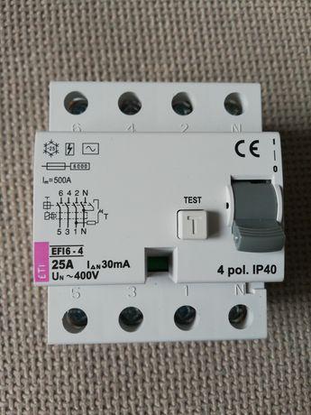 Wyłącznik różnicowoprądowy, różnicówka 25A 3-faz 4P 30mA typ AC EFI6-4