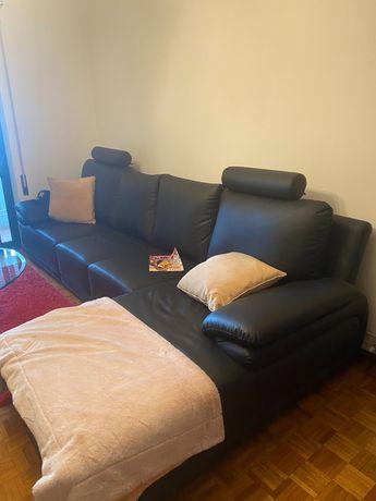 Sofá, chaise longe. de couro, preto