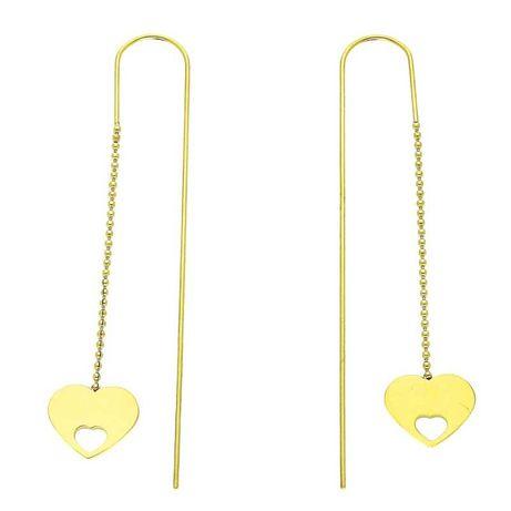 Kolczyki serca złote stal chirurgiczna długie cudo :)