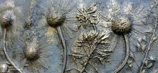Donica doniczka osłonka drewniana osłona ozdobna na kwiaty zioła złota