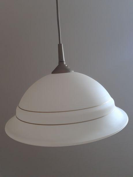 Lampa vintage PRL kremowo złota