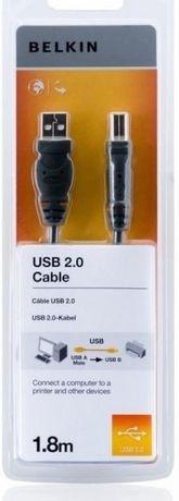 Кабель BELKIN USB 2.0 AM/BMDSTP 1.8м, Black