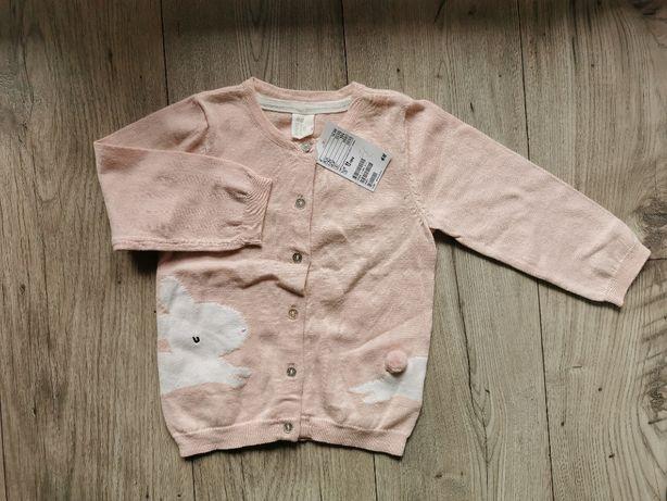 Nowy rozpinany sweter dla dziewczynki H&M r.86 króliczek