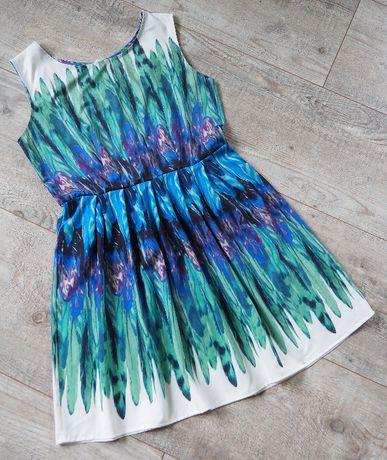 Sukienka rozkloszowana pióra_rozmiar L