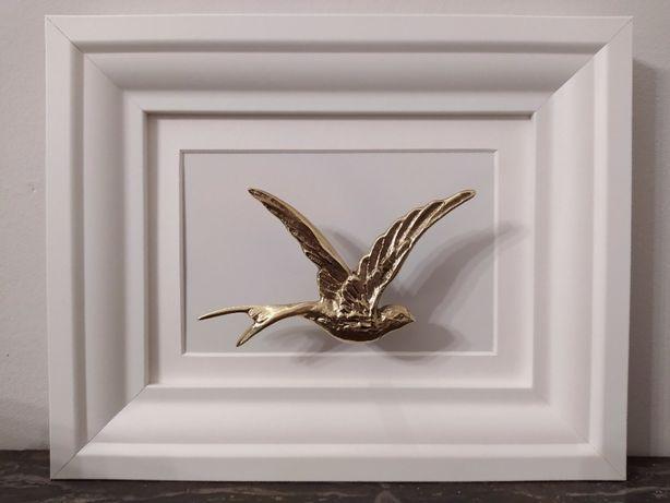 REZERWACJA prezent Walentynki: złoty koliber w ramce. 3D. Mosiądz