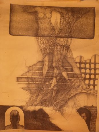 Andrzej Kabała Adagio Rysunek długopisem 1971 Piękny. Niepowtarzalny