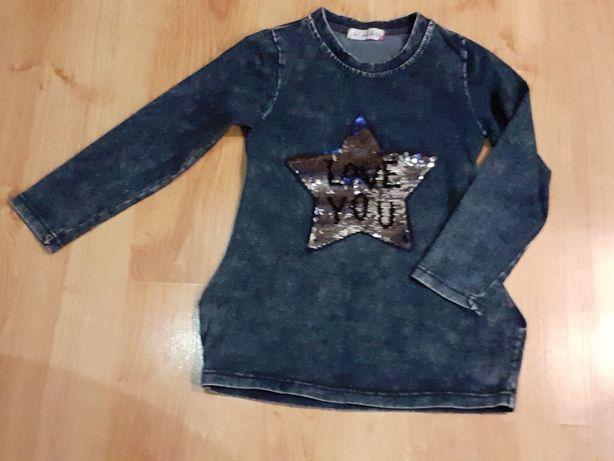 bluzeczka dziewczęca z jeansu z cekinami interaktywna