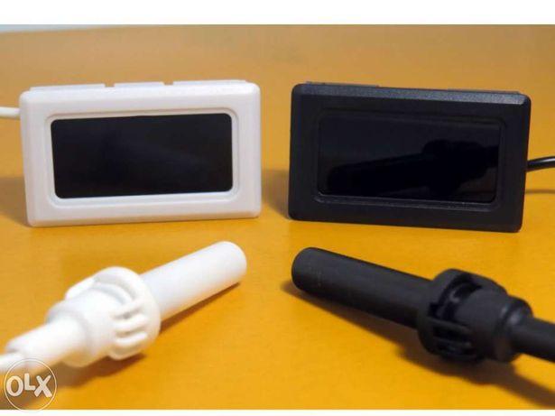 Higrómetro e Termómetro digital, com sonda, branco ou preto