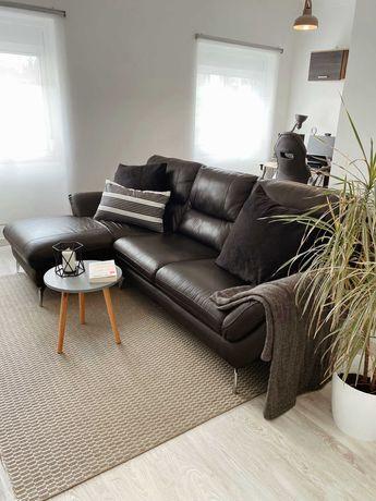 Sofa chaise longue moderno, em pele genuina, como novo - urgente