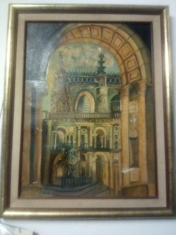Antiga pintura-óleo sobre tela-Convento de Cristo em Toma Danificada