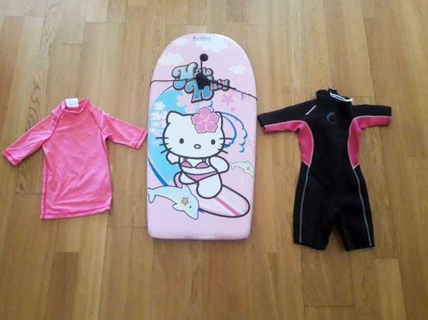 Conjunto Bodyboard Menina 4 a 6 anos - Prancha Hello Kitty+Fato+Licra