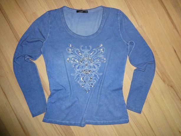 okazja MONNARI niebieska ala jeans bluzka dlugi rękaw HAFTY cekiny r M