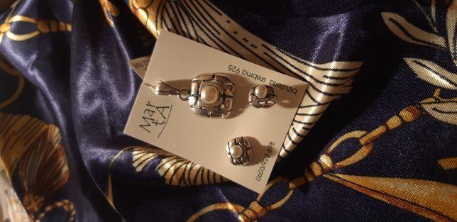 Zestaw biżuterii srebrnej 925 kolczyki + wisiorek