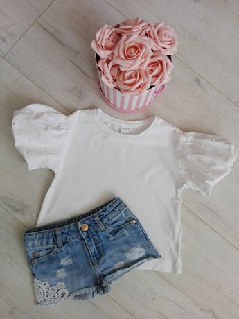 Koszulka Zara 116 dla dziewczynki perełki