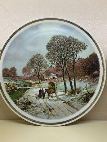 "Декоративная настенная тарелка с пейзажем ""Зима"""