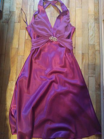 Sukienka fioletowa satynowa r. 40 studniówka/bal/wesele