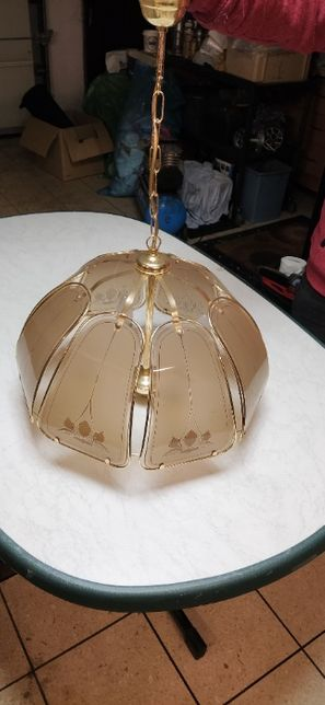 Lampa na 4 żarówki stal/szkło