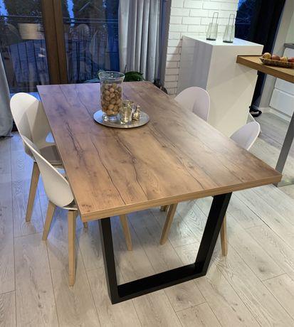 Nowoczesny stół do jadalni rozkładany metalowe nogi styl loft