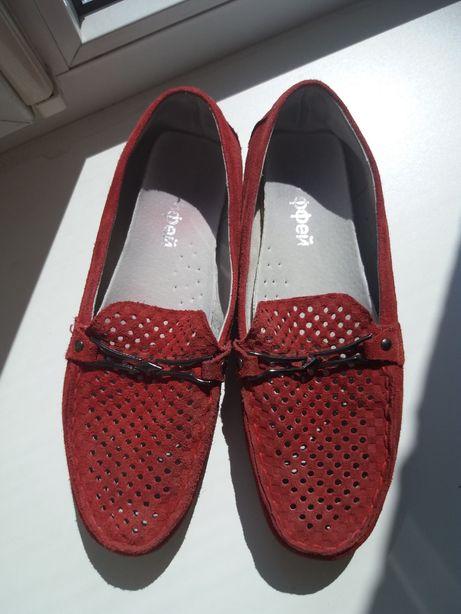 Мокасины туфли замш красные