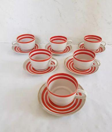 Кофейные фарфоровые чашки с блюдцами Довбыш, кофейная пара 60е годы