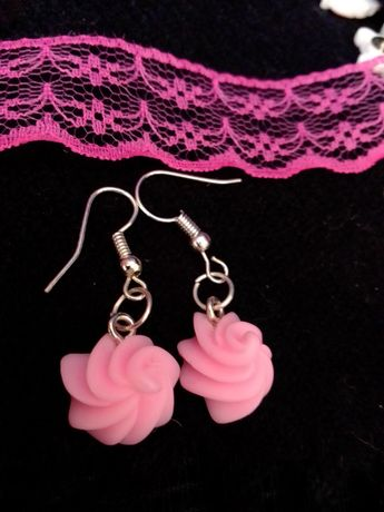 Kolczyki różowe ciasteczko