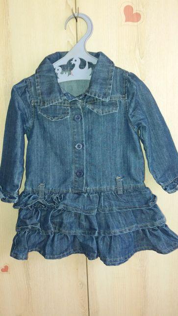 Джинсовое(катоновое) модное платье на рост 86см.
