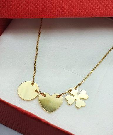 Naszyjnik damski złoty 14 karatowe - koło serce koniczyna NA513B