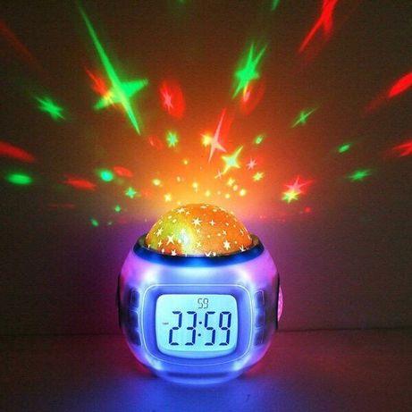 Музыкальный ночник-проектор звездное небо 1038 с часами  будильником