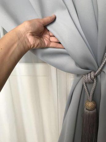 Шторы из светонепроницаемой ткани блекаут цвет серый